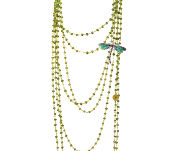 Long necklace with jewelry barrette